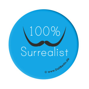 Button 100% Surrealist blau