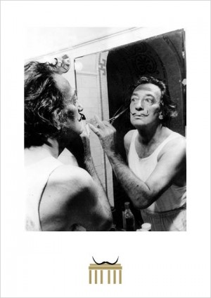 Dalí shaping his famous mustache 1964