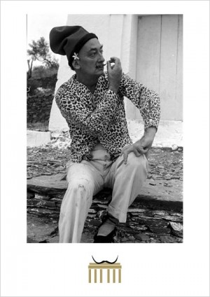 Dalí in front of his house in Port Lligat 1957