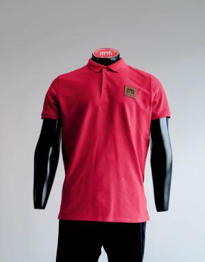 DaliBerlin Poloshirt Herren rot mit Lederpatch