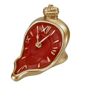Uhr fließend mit Knopf/ Krone gold/rot