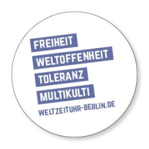 """Magnet Weltzeituhr """"Freiheit Weltoffenheit Toleranz Multikulti"""""""