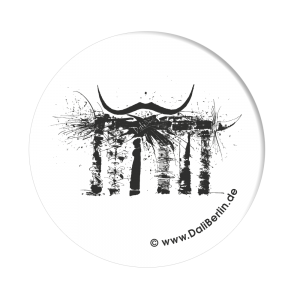 Button Brandenburger Tor mit Bart