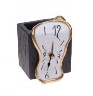 Uhr Stiftehalter gold/weiß
